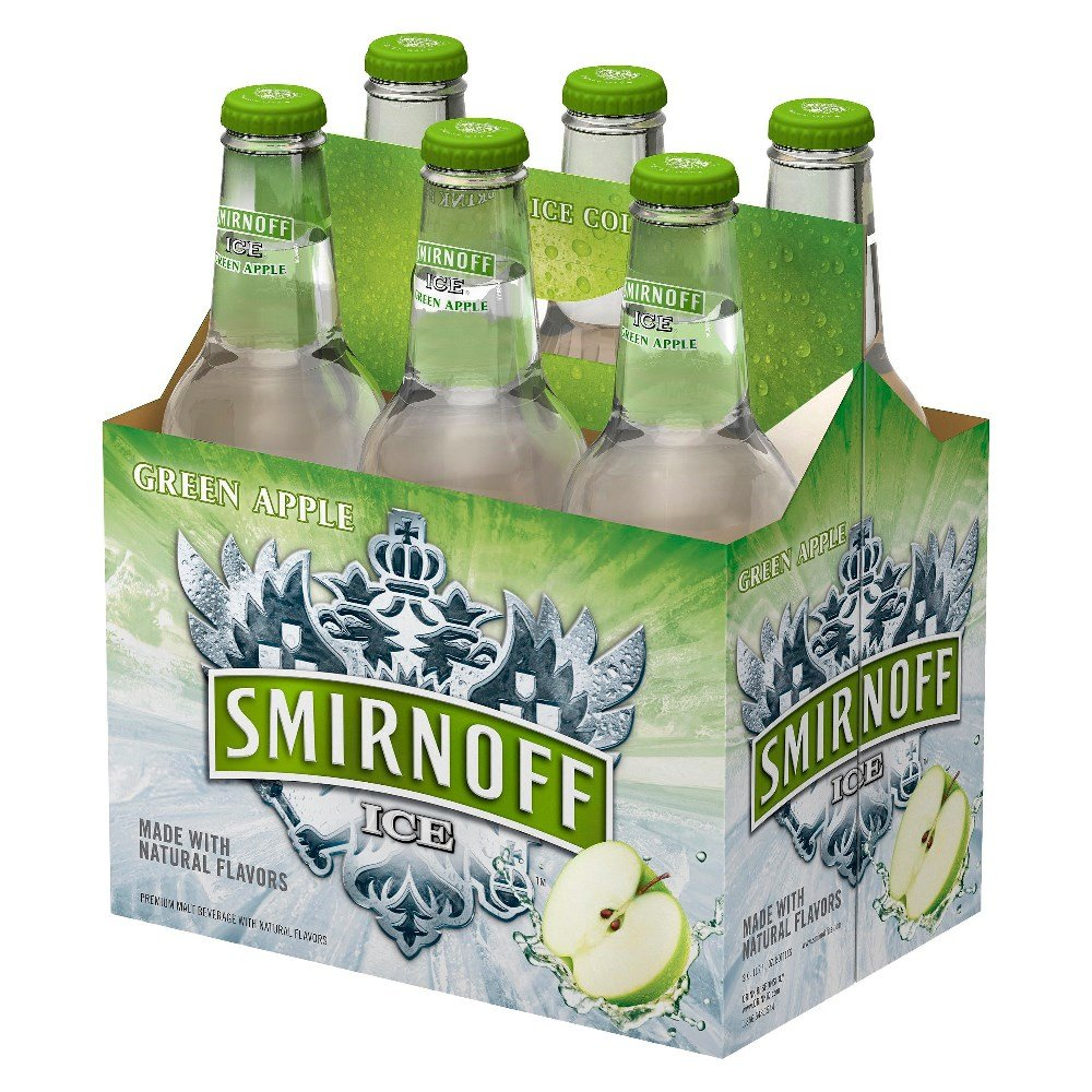 Smirnoff Ice Green Apple Bottles 12oz 6 Pack Beercastleny